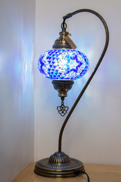 Hand Made Swan Neck Mosaic Table Lamp Size 3 in Blue Flower Design