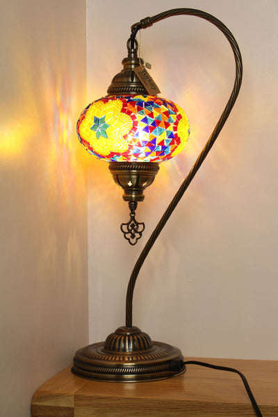 Hand Made Mosaic Swan Neck Table Lamp Size 3 in Flame Flower Design