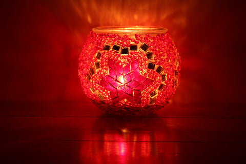 Hand Made Red Flower Mosaic Tea Light Holder