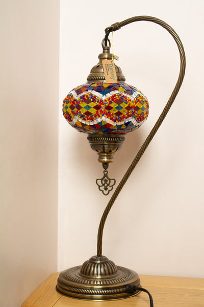 Hand Made Swan Neck Mosaic Table Lamp Size 3 in Flame Rug Design