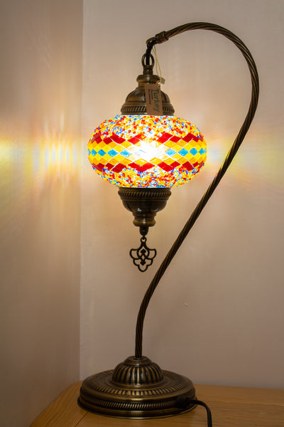 Hand Made Swan Neck Mosaic Table Lamp Size 3 in Flame Wicker Design