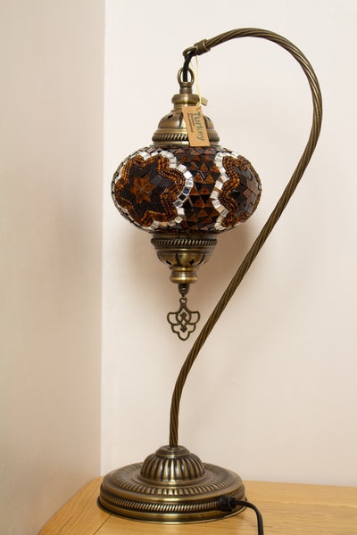Hand Made Swan Neck Mosaic Table Lamp Size 3 in Gold Flower Design