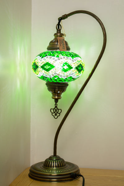 Hand Made Swan Neck Mosaic Table Lamp Size 3 in Green Rug Design