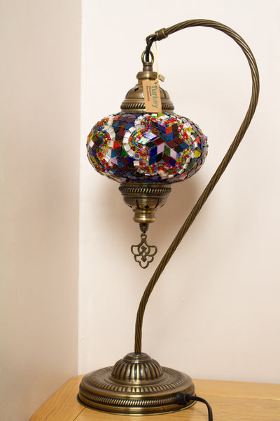 Hand Made Swan Neck Mosaic Table Lamp Size 3 in Mixed Flower Design