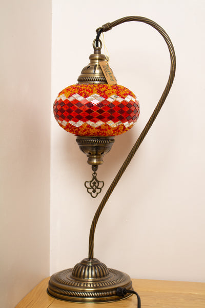 Hand Made Swan Neck Mosaic Table Lamp Size 3 in Orange Wicker Design