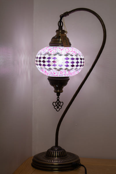 Hand Made Swan Neck Mosaic Table Lamp Size 3 in Pink Wicker Design