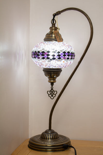 Hand Made Swan Neck Mosaic Table Lamp Size 3 in Purple Wicker Design