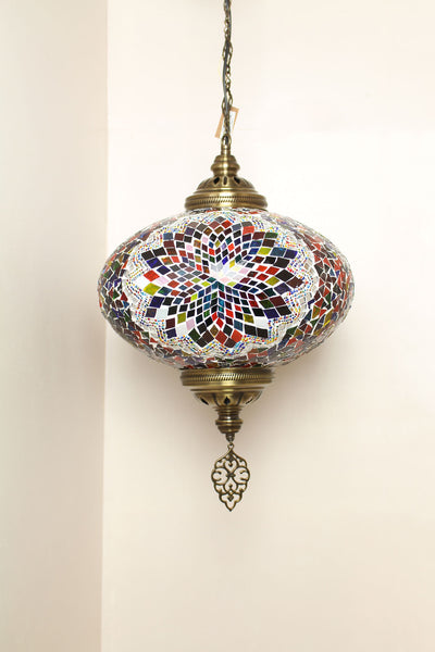 Handmade Extra Large Mosaic Single Size 6 Hanging Pendant Light in Mixed Flower Design