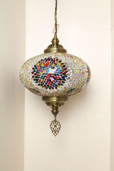 Handmade Extra Large Mosaic Single Size 6 Hanging Pendent Light in Mixed Star Design