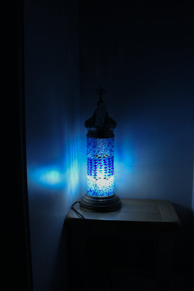 Hand Made Mosaic Cylindrical Table Lamp Size 2 in Blue Wicker Design