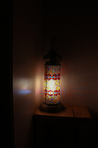 Hand Made Mosaic Cylindrical Table Lamp Size 3 in Flame Wicker Design