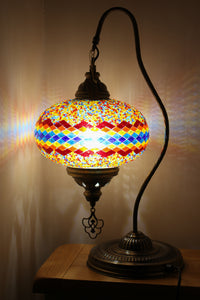 Hand Made Swan Neck Mosaic Table Lamp Size 5 in Flame Wicker Design