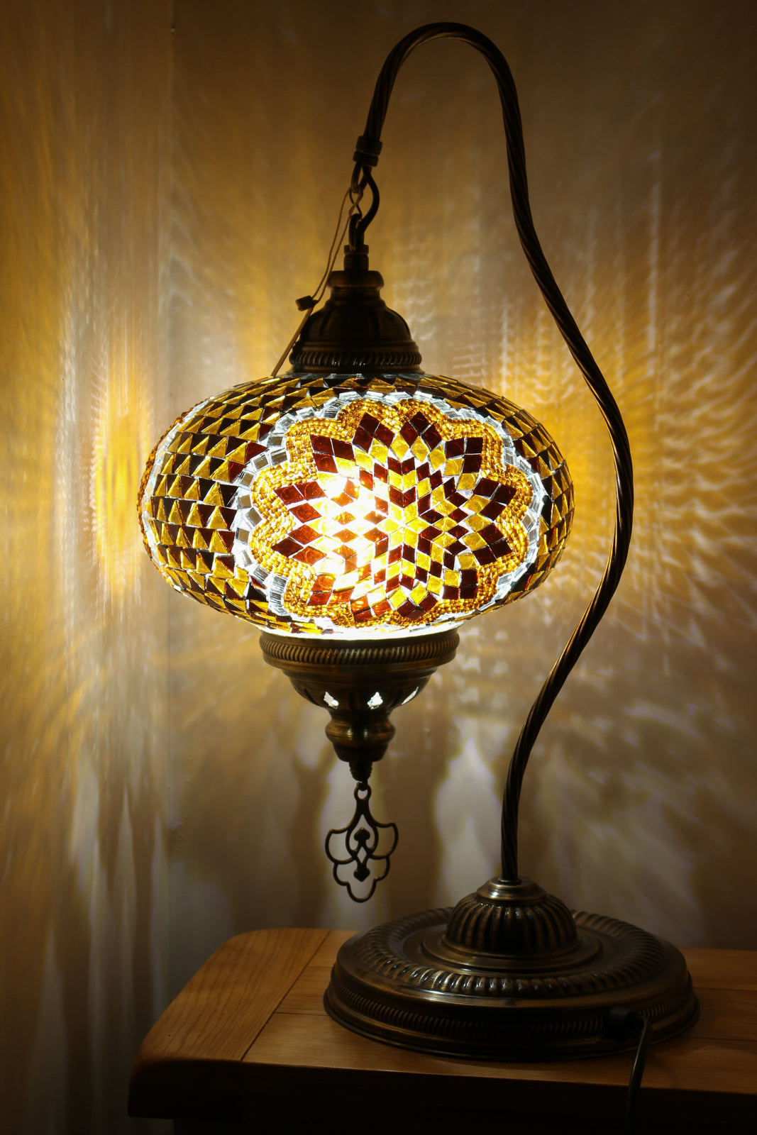 Hand Made Swan Neck Mosaic Table Lamp Size 5 in Gold Flower Design