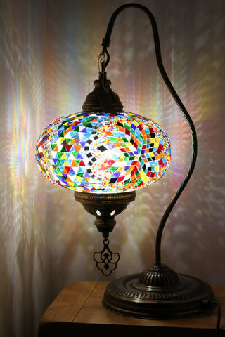 Hand Made Swan Neck Mosaic Table Lamp Size 5 in Mixed Flower Design