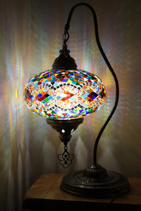 Hand Made Swan Neck Mosaic Table Lamp Size 5 in Mixed Rug Design