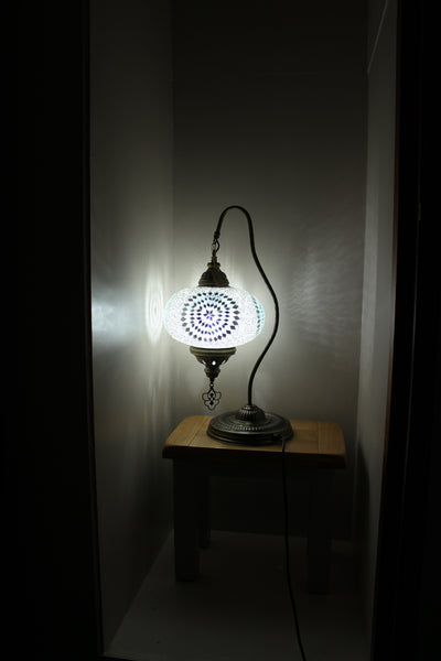 Hand Made Swan Neck Mosaic Table Lamp Size 5 in White Star Design