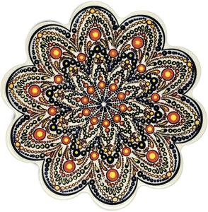 Traditional Turkish 18.5cm Ceramic Daisy Trivet Nihale 003