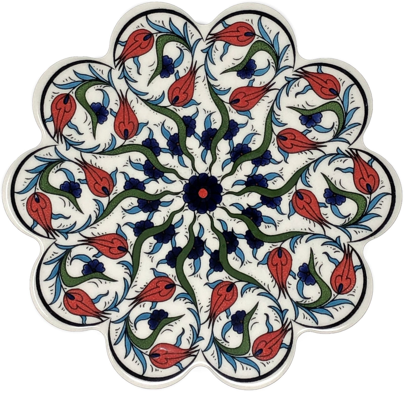 Traditional Turkish 18.5cm Ceramic Daisy Trivet Nihale 006
