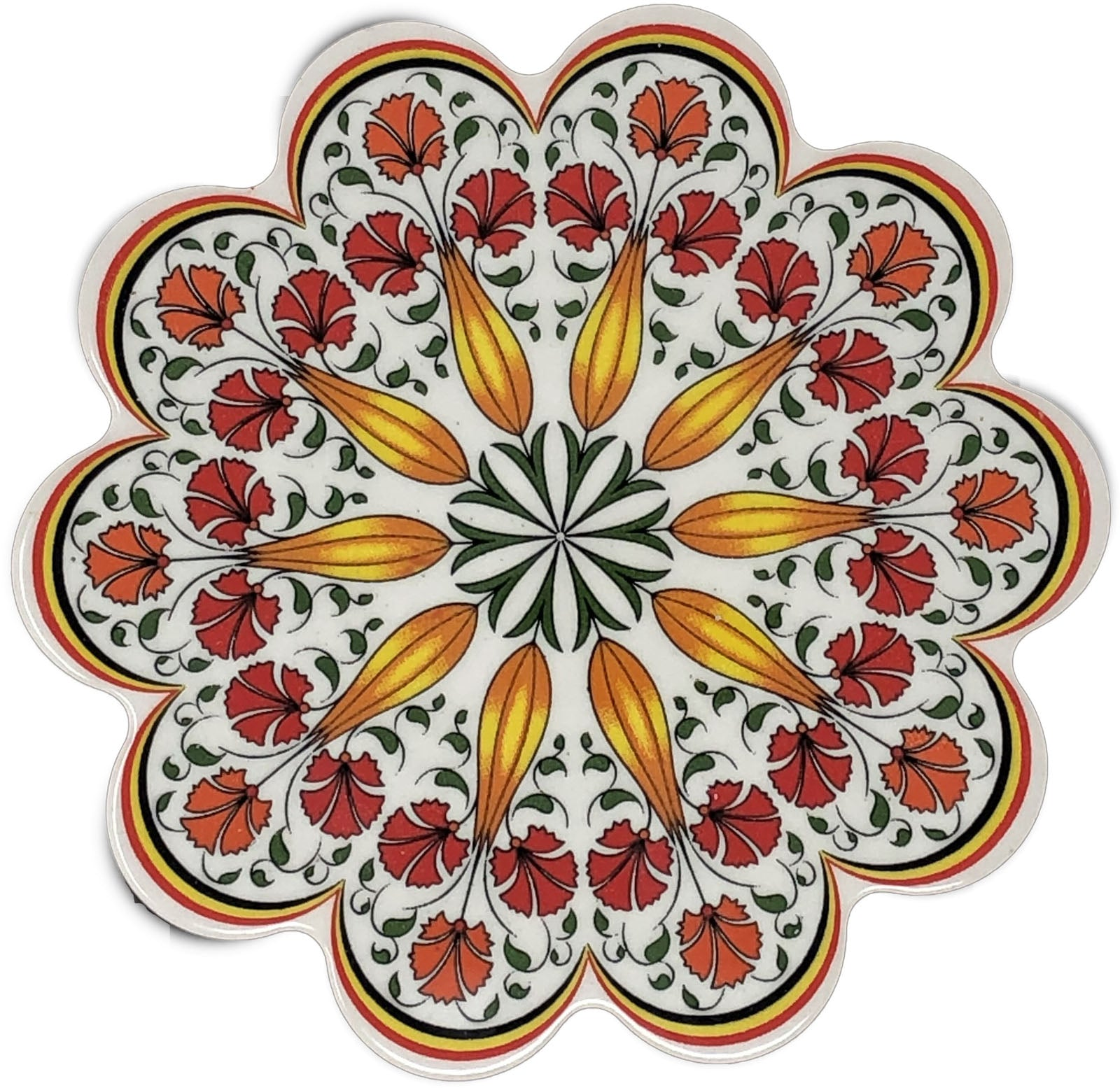 Traditional Turkish 18.5cm Ceramic Daisy Trivet Nihale 019