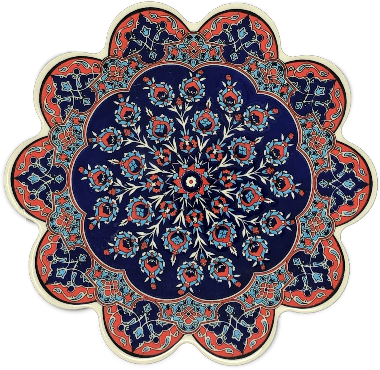 Traditional Turkish 18.5cm Ceramic Daisy Trivet Nihale 025