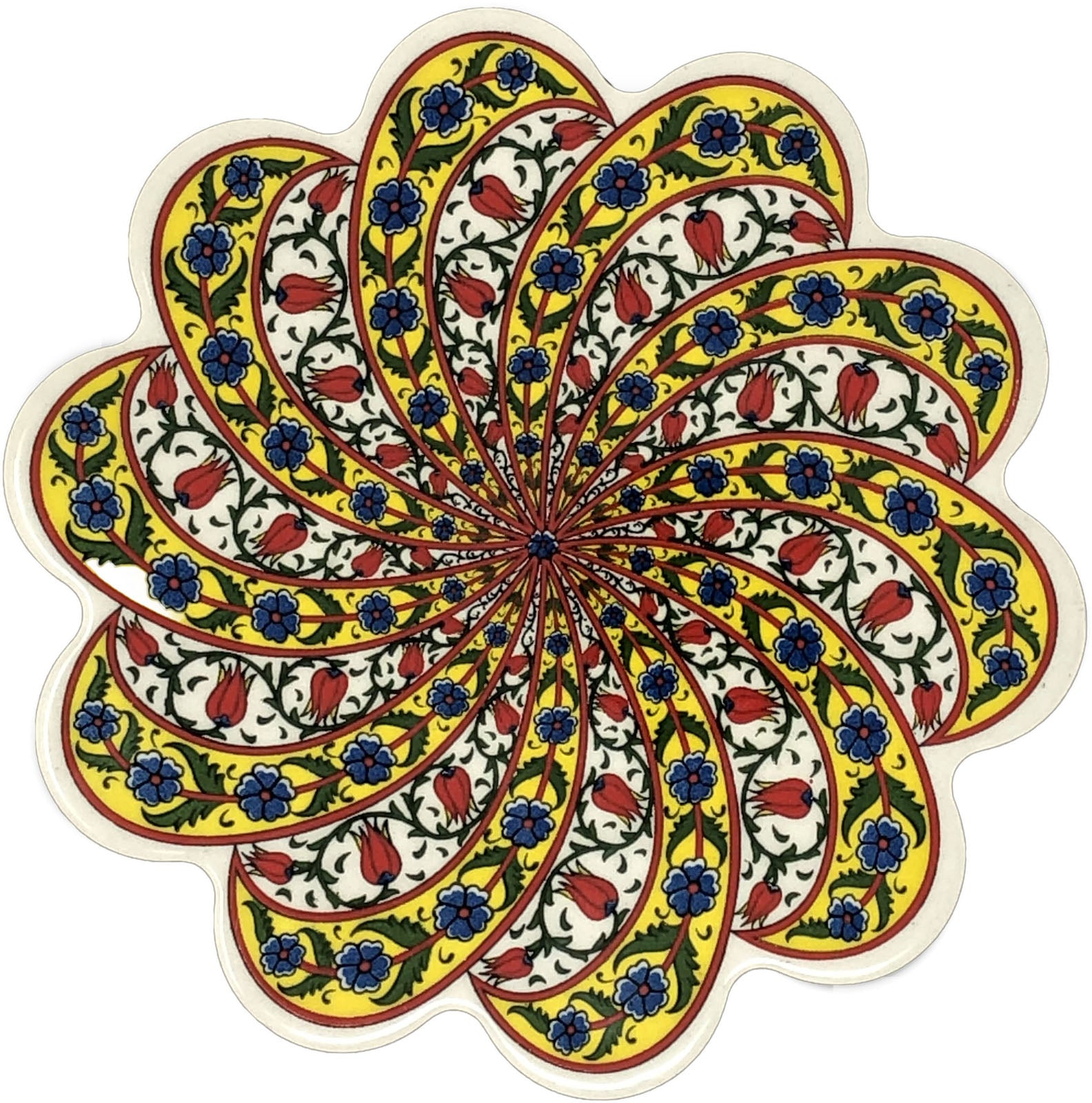 Traditional Turkish 18.5cm Ceramic Daisy Trivet Nihale 030