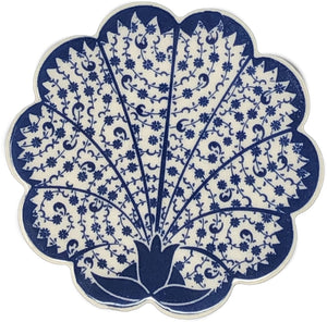 Traditional Turkish 11cm Ceramic Daisy Coaster 001