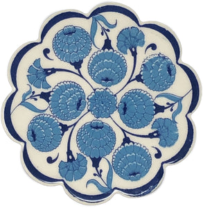 Traditional Turkish 11cm Ceramic Daisy Coaster 002