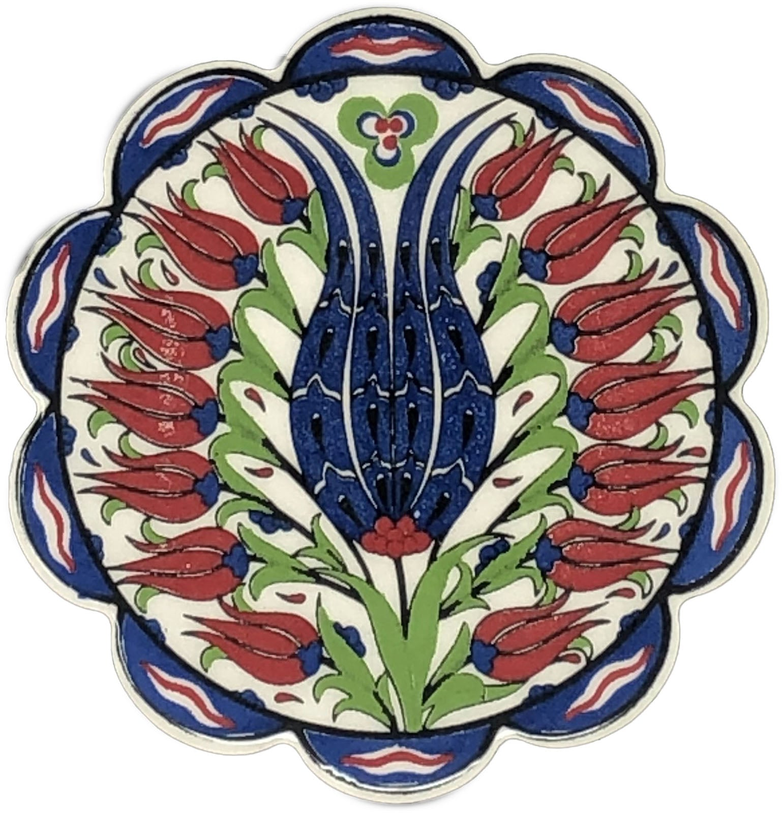 Traditional Turkish 11cm Ceramic Daisy Coaster 008