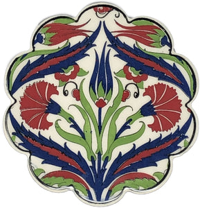 Traditional Turkish 11cm Ceramic Daisy Coaster 011