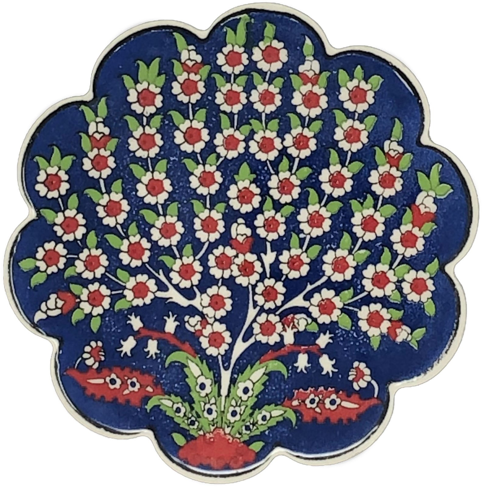 Traditional Turkish 11cm Ceramic Daisy Coaster 014