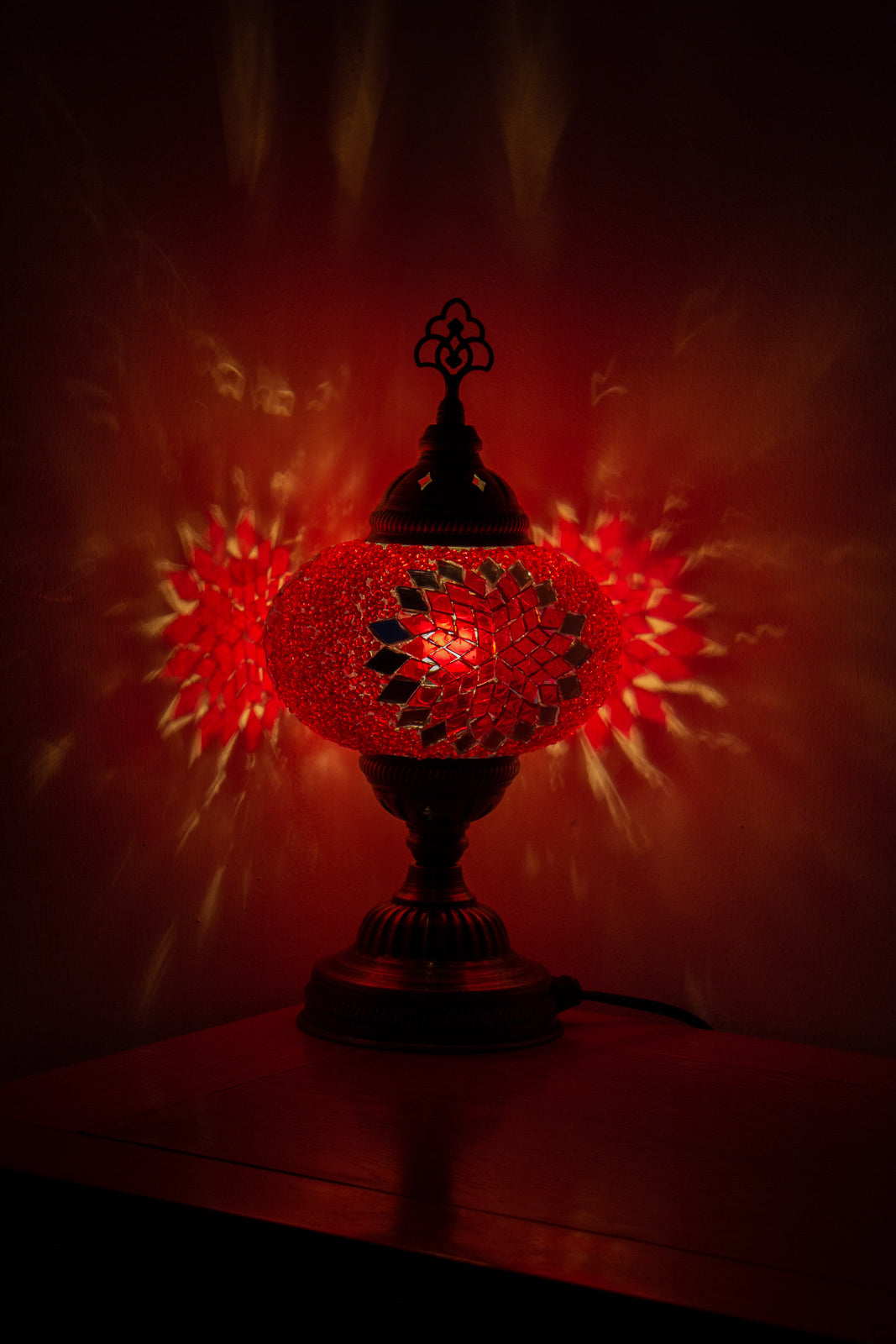 Hand Made Mosaic Table Lamp Size 3 in Red Star Design