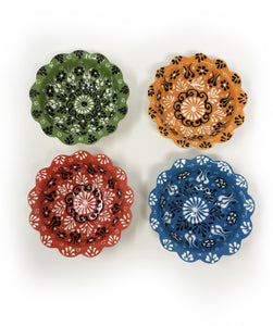 Turkish Handmade Ceramic Set of 4 Boxed 10cm Daisy Bowls 004