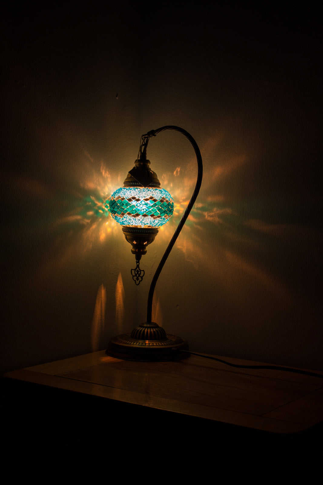Hand Made Swan Neck Mosaic Table Lamp Size 2 in Turquoise Wicker Design
