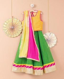 Green Yellow Lehenga Choli for girls