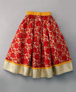 Red Floral Lehenga With Dupatta
