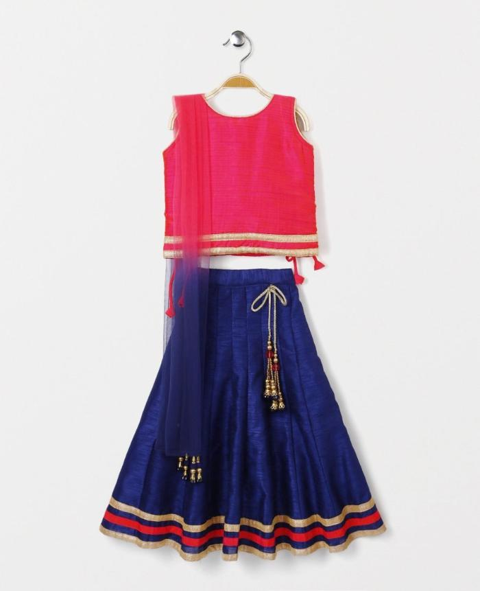 Raw Silk Girl's Lehenga Choli