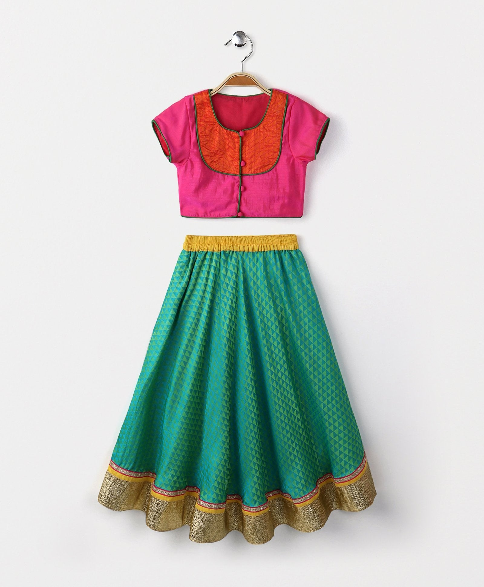 Baby - Green Triangle Lehenga with dupatta