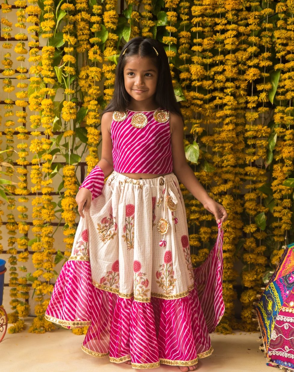 NEW ARRIVAL! Pink and White - Block Print Skirt and leheriya Blouse Lehenga Set