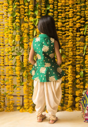 NEW ARRIVAL! Green Jacket Top with Off White Dhoti Pants