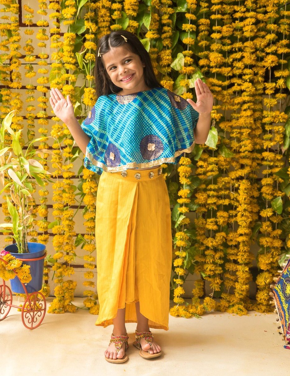 NEW ARRIVAL! Blue Cape Top with Yellow Dhoti Skirt