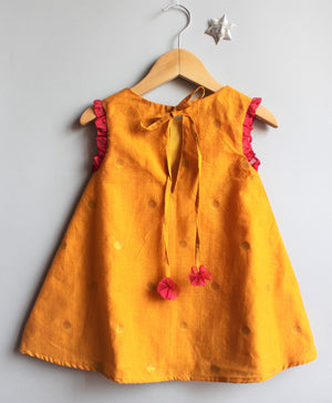 Baby - Mustard Flutter Sleeve Dress
