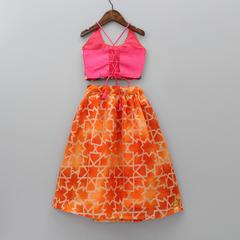 NEW ARRIVAL - Pink Choli with Orange Lehenga and Dupatta