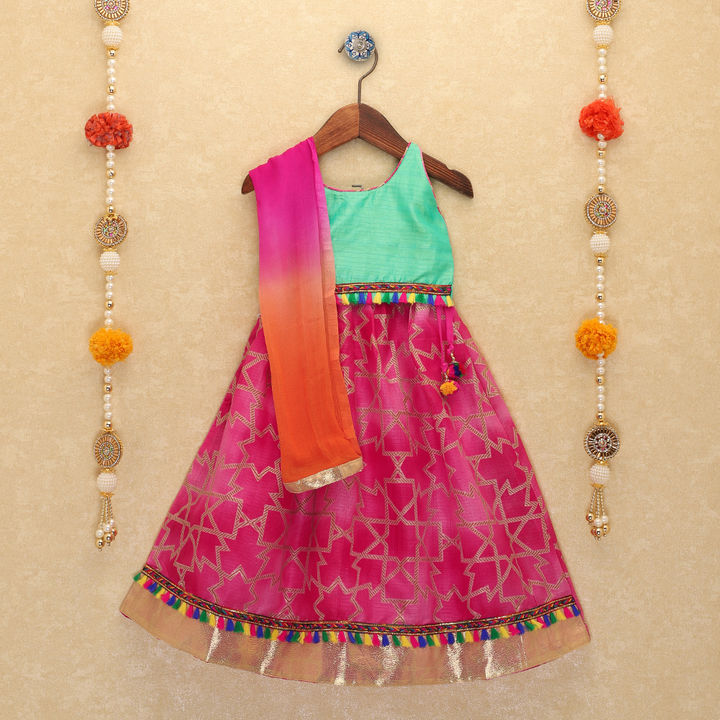 NEW ARRIVAL - Green and Pink Tassel Lehenga Choli and Dupatta