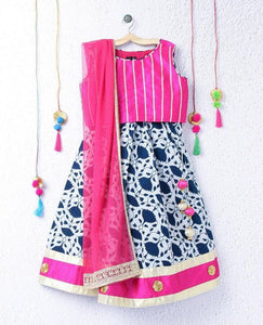 Girl lehenga choli pink Indigo Printed festive party indian kid children wear ethnic