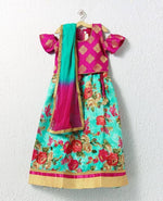 Girl Cold Shoulder Pink and Green Lehenga Choli
