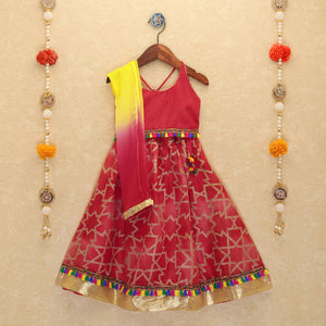 NEW ARRIVAL - Red Tassel Lehenga Choli and Dupatta