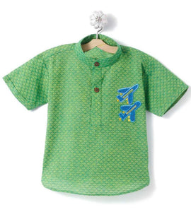 Boy Handloom Green short Kurta
