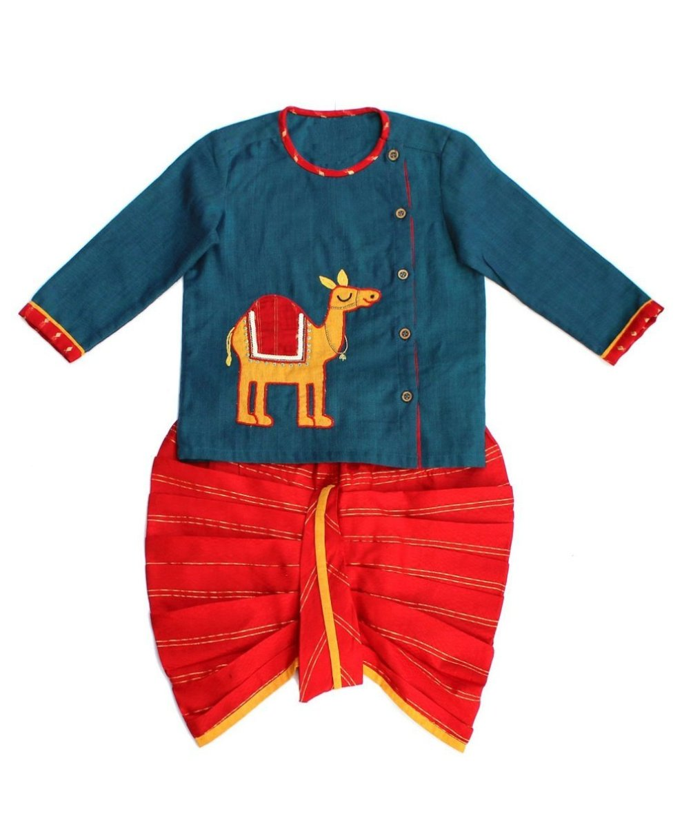 Blue Red Camel Print Dhoti Kurta for Infant Boy