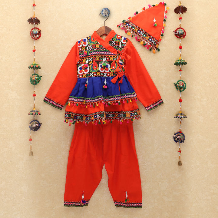 Orange Full Flare Panel Detail Kutch Work Kedia with Dhoti
