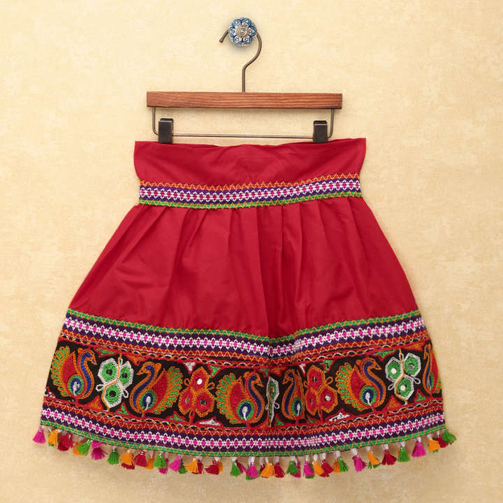 Chaniya Choli for Girls - Cap Sleeves Choli With Pom Pom Red Lehenga